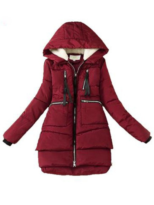 A Line Thick Zipper Mid-Length Women's Cotton Padded Jacket