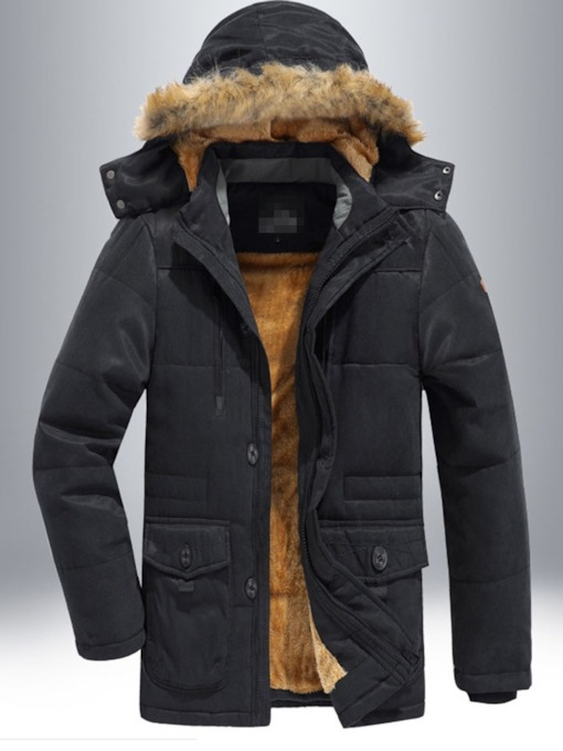 Plain Hooded Patchwork European Men's Down Jacket