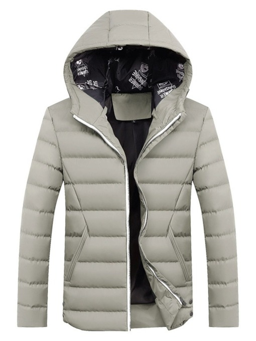 Hooded Plain Standard Zippe Men's Down Jacket