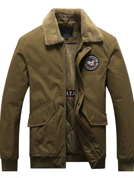 Lapel Standard Patchwork Casual Men's Down Jacket