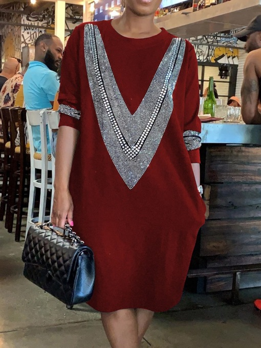 Long Sleeve Mid-Calf Round Neck Diamond Regular Women's Dress