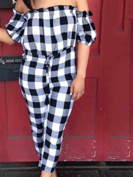 Ankle Length Plaid High Waist Women's Jumpsuit