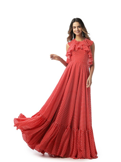 Halter Ruffles Dots Backless Red Prom Dress 2020