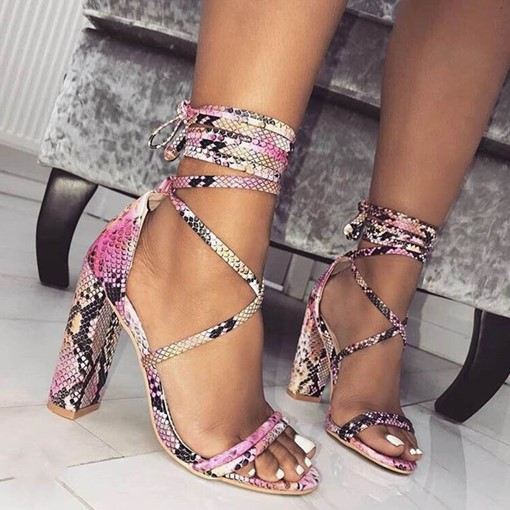 Heel Covering Chunky Heel Open Toe Lace-Up Snake Skin Sandals