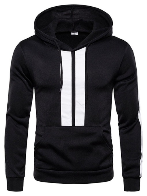 Pocket Pullover Color Block Hooded Men's Hoodies