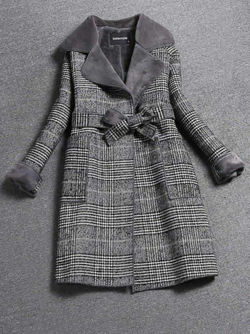 Slim Lace-Up Regular Notched Lapel Women's Overcoat