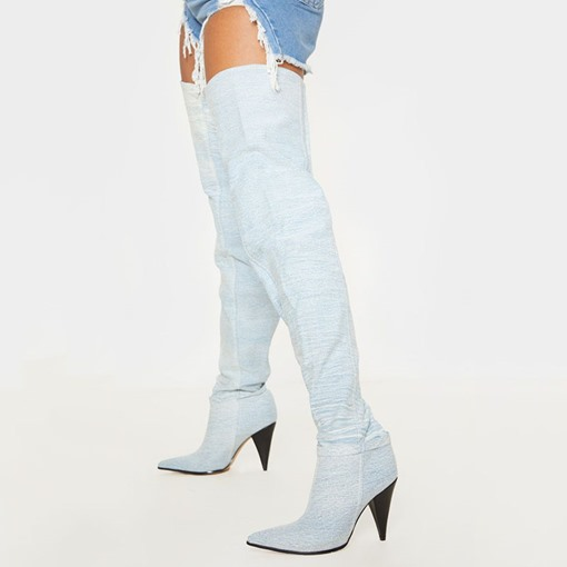 Customized Pointed Toe Slip-On Sexy Thigh High Boots