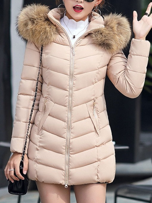 Slim Zipper Thick Mid-Length Plain Women's Cotton Padded Jacket
