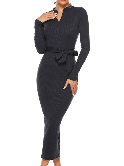 Long Sleeve Stand Collar Mid-Calf Pullover Women's Dress