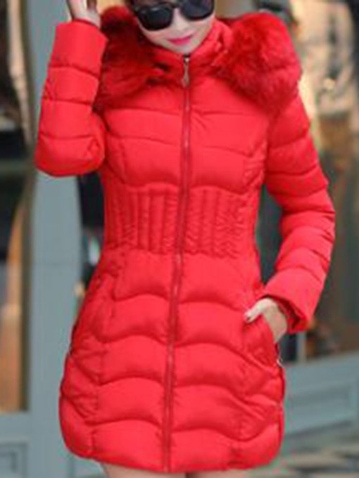 Plus Size Zipper Thick Slim Mid-Length Plain Women's Cotton Padded Jacket