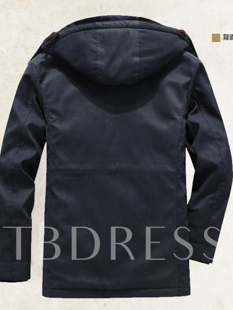 Hooded Button Mid-Length Plain Zipper Men's Down Jacket