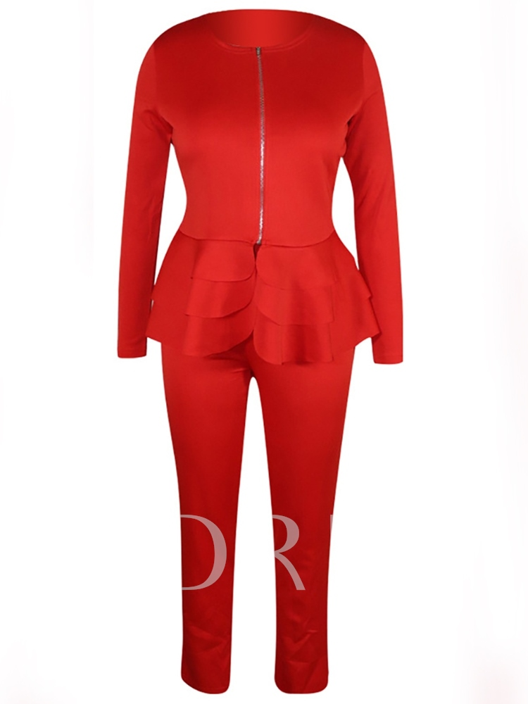 Coat and Pants Patchwork Plain Zipper Women's Two Piece Sets