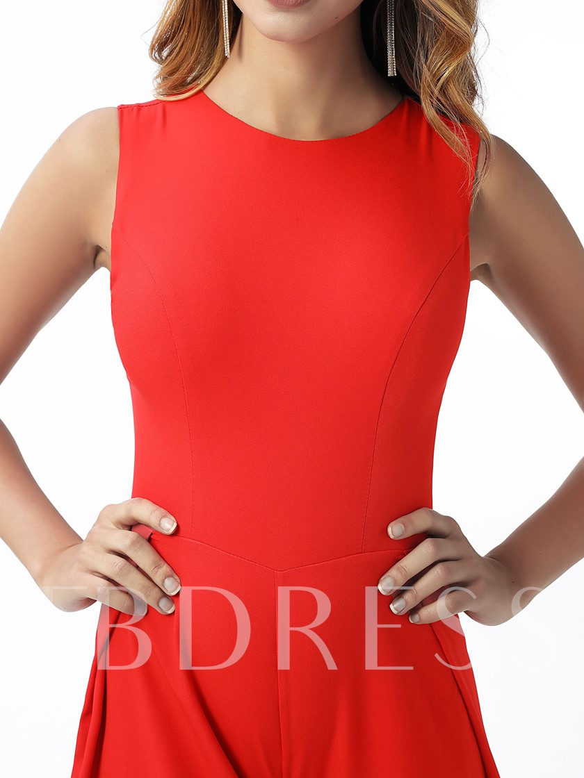 Column Ankle-Length Red Evening Jumpsuits 2020