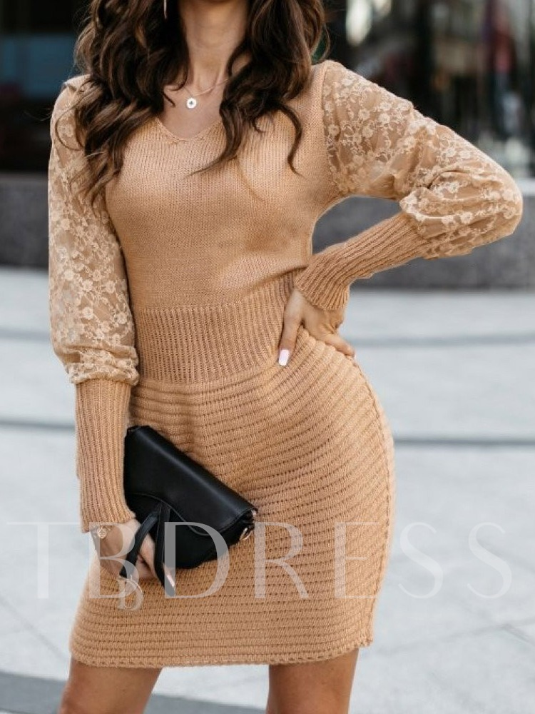 Above Knee Long Sleeve Patchwork Pullover Women's Dress