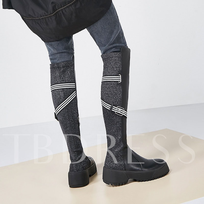 Customized Round Toe Side Zipper Patchwork Knee High Boots