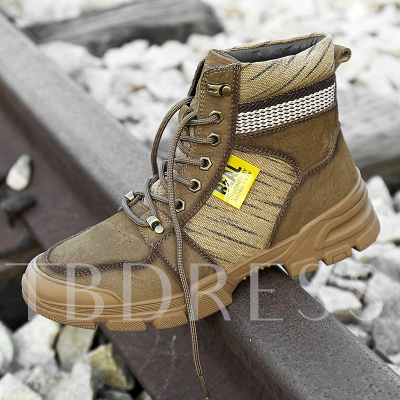 Round Toe Lace-Up Front Color Block Men's Leather Boots