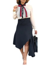 Bowknot Office Lady Single-Breasted Women's Two Piece Sets