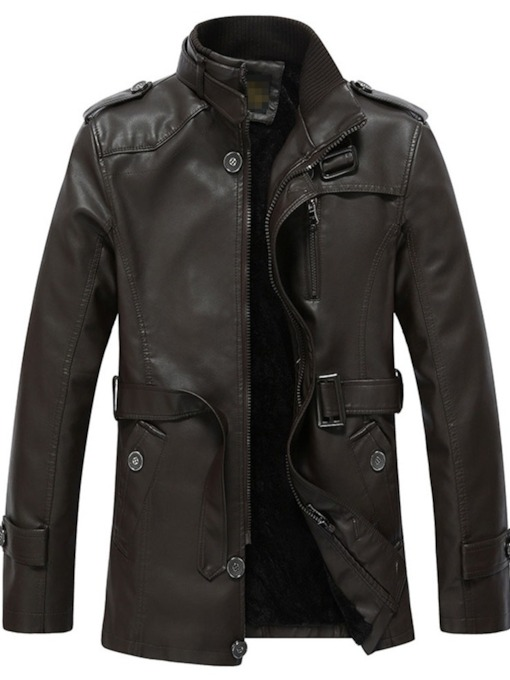 Standard Collar Plain Patchwork Men's Leather Jacket