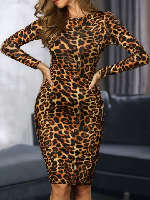 Knee-Length Print Round Neck Long Sleeve Winter Women's Dress