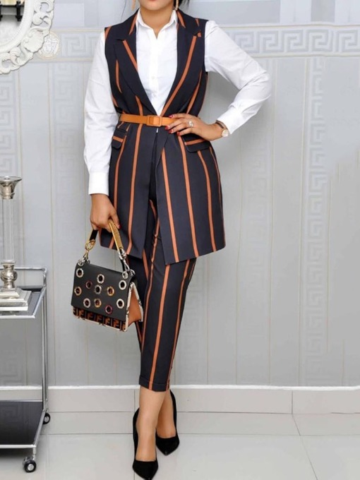 Stripe Notched Lapel Wear to Work Women's Two Piece Sets