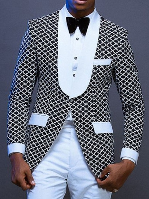 Casual Notched Lapel One Button Geometric Men's Leisure Blazer