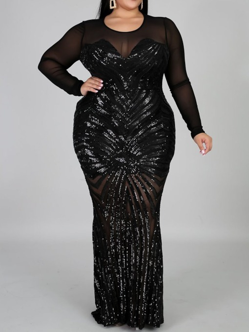 Plus Size Long Sleeve Round Neck Floor-Length Sequins Regular Women's Dress