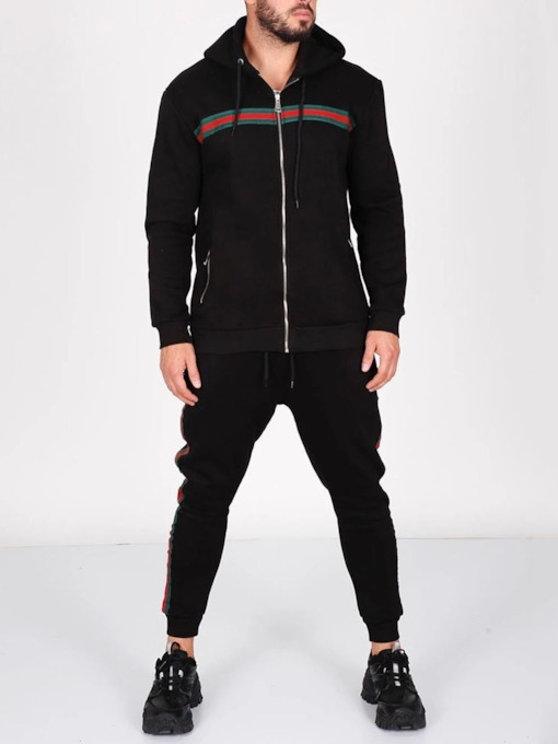 Casual Color Block Hoodie Patchwork Men's Outfit