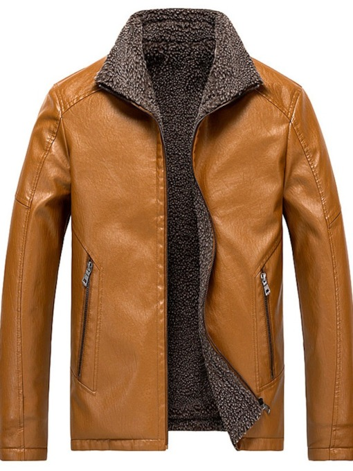 Lapel Standard Casual Men's Leather Jacket