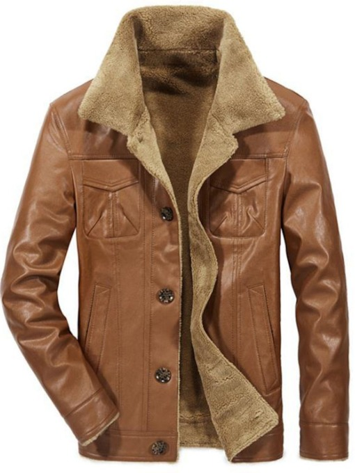 Lapel Standard Single-Breasted Men's Leather Jacket