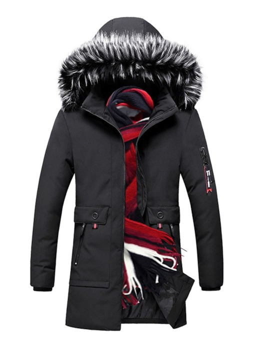 Color Block Zipper Hooded European Men's Down Jacket