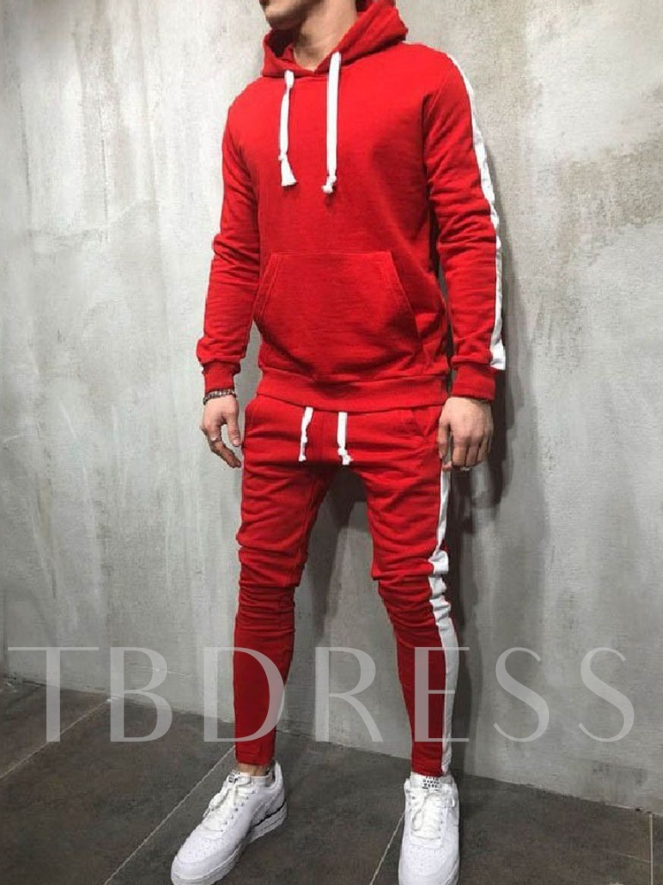 Pocket Casual Color Block Hoodie Men's Outfit