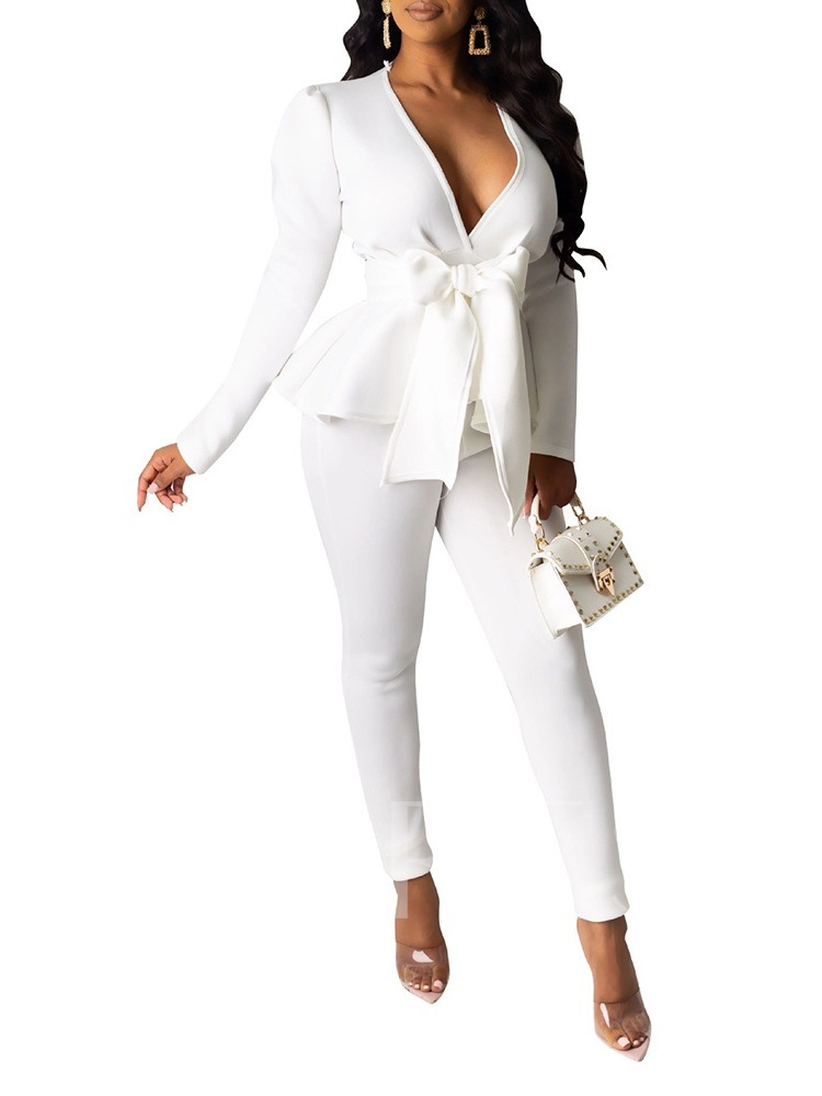 Office Lady Plain V-Neck Casual Women's Two Piece Sets