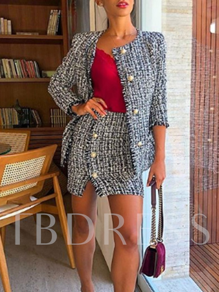Button Casual Round Neck Women's Two Piece Sets
