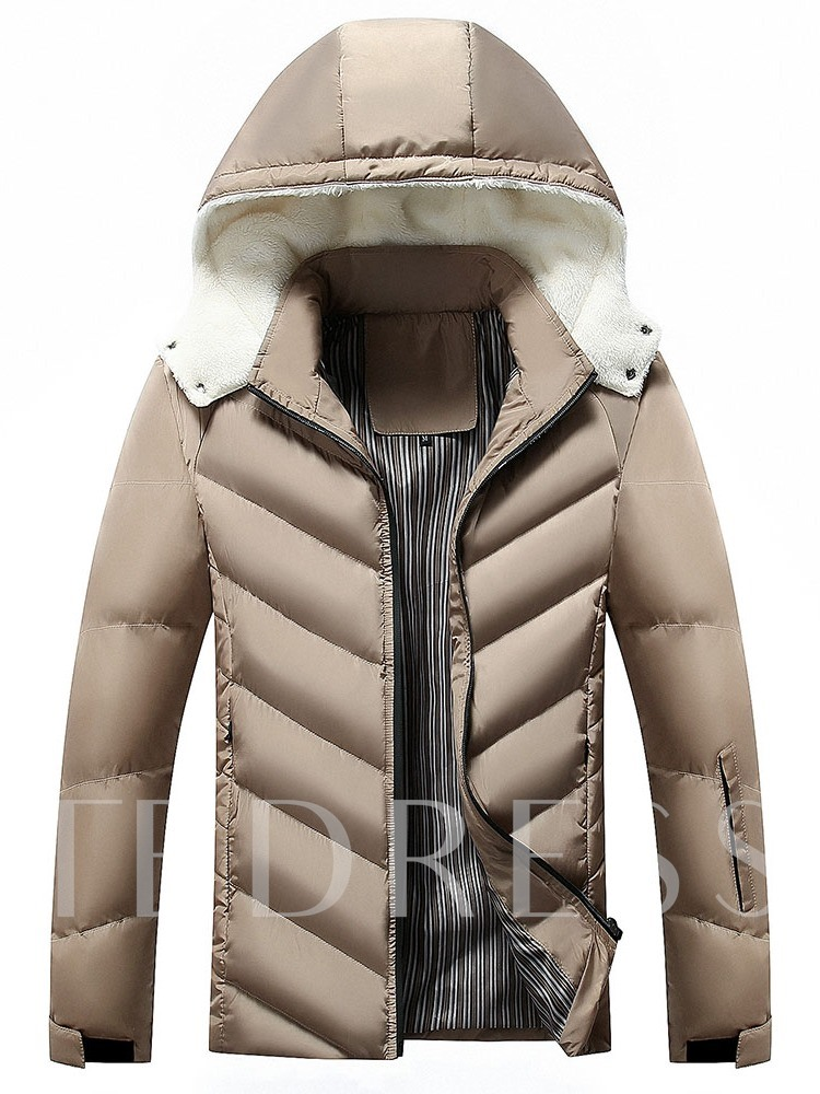 Block Hooded Patchwork Standard Casual Men's Down Jacket
