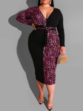 Plus Size Print Mid-Calf Long Sleeve V-Neck Regular Women's Dress