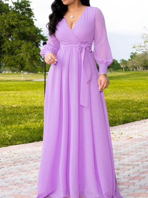 V-Neck Floor-Length Long Sleeve A-Line Women's Dress