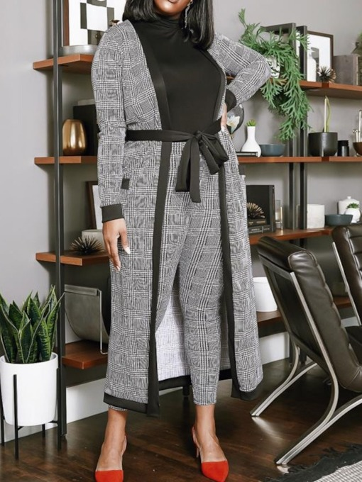 Plus Size Plaid Casual Women's Two Piece Sets