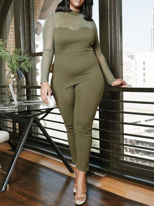 Plus Size Patchwork Casual Color Block High Waist Women's Jumpsuit