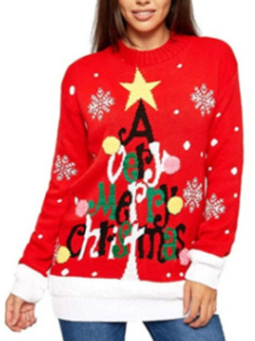 Print Regular Red Christmas Women's Sweater