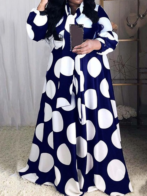 Plus Size Floor-Length Nine Points Sleeve High Waist Women's Dress