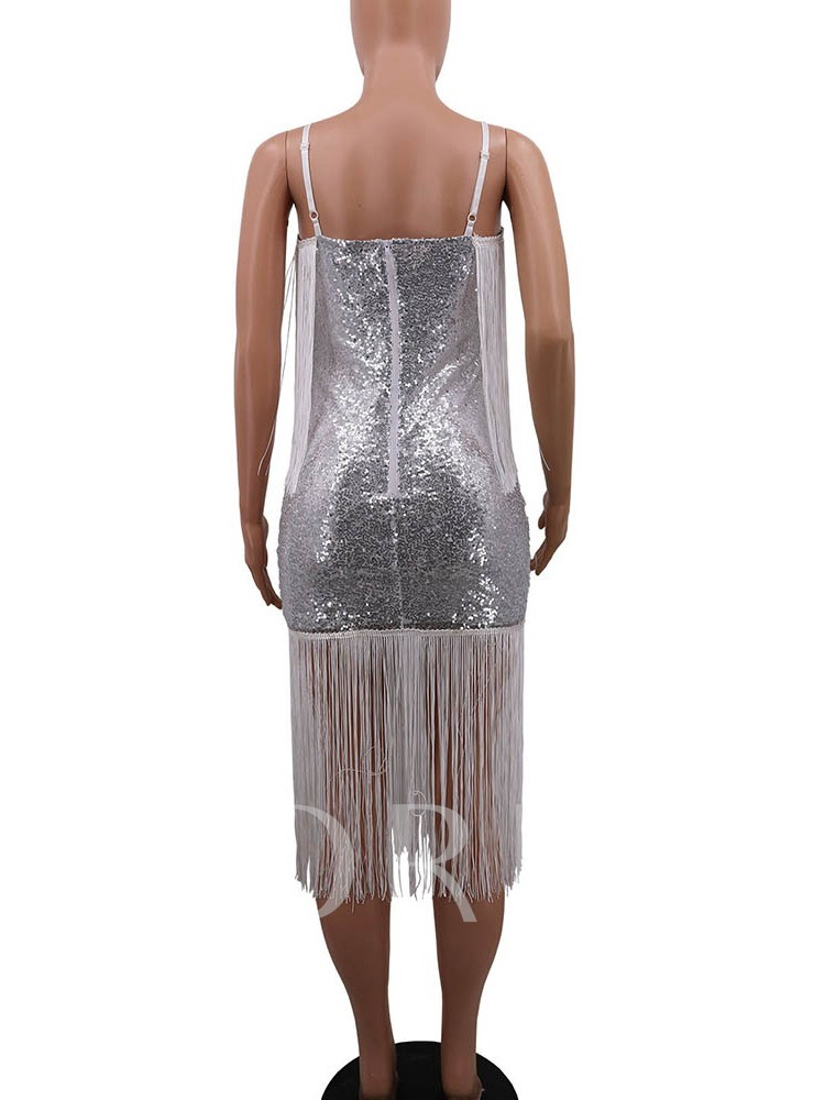 Tassel Sleeveless Mid-Calf Mid Waist Women's Dress