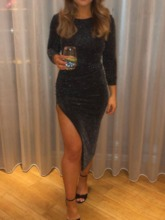 Round Neck Long Sleeve Mid-Calf Split Party/Cocktail Women's Dress
