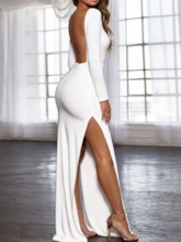 Round Neck Backless Floor-Length Long Sleeve Bodycon Women's Dress