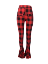 Slim Plaid High Waist Women's Casual Pants