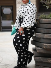 Plus Size Polka Dots Straight Women's Two Piece Sets
