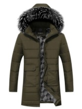 Color Block Hooded Zipper Casual Men's Down Jacket
