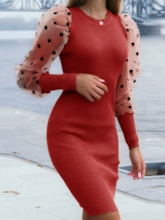 Above Knee Long Sleeve Patchwork Round Neck Pullover Women's Dress