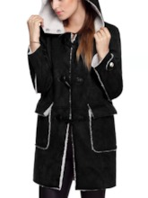 Patchwork Horn Button Straight Hooded Women's Overcoat