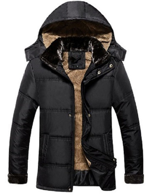 Plain Hooded Zipper Men's Down Jacket
