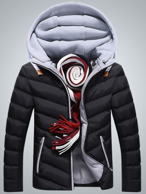 Color Block Patchwork Hooded Standard Casual Men's Down Jacket
